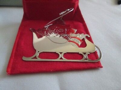 Vintage Avon Fine Collectibles*1991 Silverplate Ornament Sleigh Ride*new In Box*