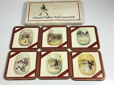 Johnnie Walker Red Coasters- Set of 6 Coasters Original box-Made in England