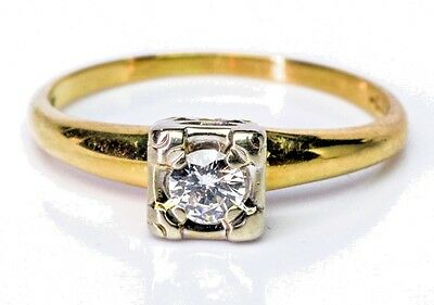 Art Deco 0.20 ct Solitaire Round Diamond 14k Gold Engagement Ring c.1920's