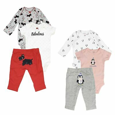 2d729f1c1 Carter's 3 Piece Set for Baby Girls Puppies, Penguin- One-Piece Bodysuits,