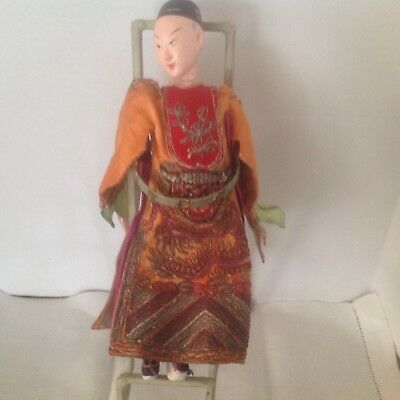 """Vintage collectible Chinese Opera doll silk embroidered robe mache face 11"""" H"""