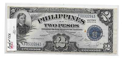 Nd 1944 Philippine 2 Peso Victory Note Pick #95A Xf/au Note