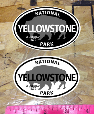 """Yellowstone National Park Wyoming Decal Sticker Vinyl Buffalo 3.8"""" - 2 for 1"""