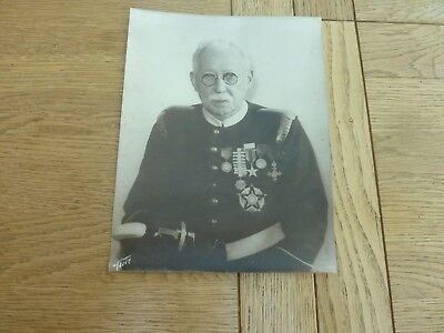"""Vintage Military Photo Old Soldier With Interesting Set Of Medals 9 X 7"""" Origina"""