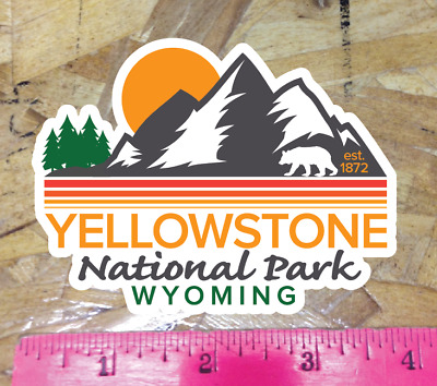 """Yellowstone National Park Wyoming Decal Sticker Vinyl 3.8"""" vintage WY est"""