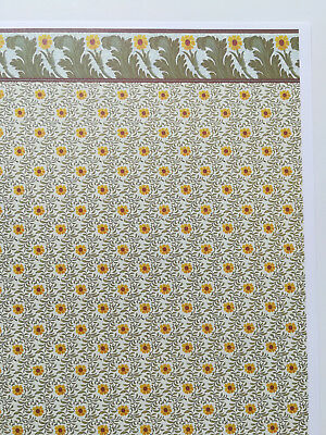 "Dollhouse Miniature Brodnax Wallpaper Arts & Crafts ""Sunflower"" 1:12 Scale"