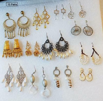 Earrings LOT-ER#81 – V2N 13 Pairs - Gold-Tones & White – Dangle & Drop - GUC Pre