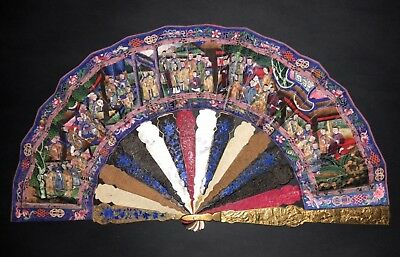 Antique Chinese Mother Of Pearl Silver Filigree Enamel Mixed Sticks Painted Fan