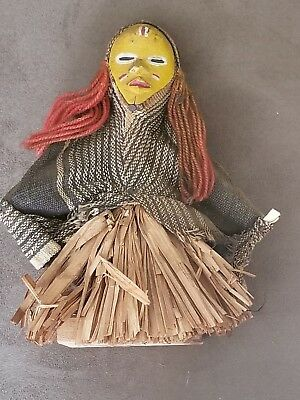 Rare Eastern African Far East Doll Figure Straw Tribal Vintage Antique Detailed