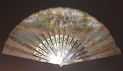 Fine Antique French Victorian Mother Of Pearl Gold Inlay Figural Scene Fan