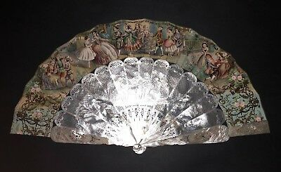 Superb Antique French Hand Carved Pierced Mother Of Pearl Rococo Scene Fan