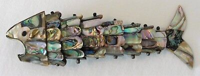 Vintage Hand Made Bottle Opener Articulating Fish Abalone Shell
