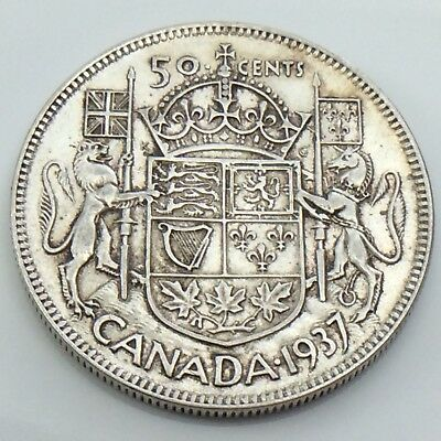 1937 Canada 50 Fifty Cent Half Dollar Canadian Circulated King George Coin G624