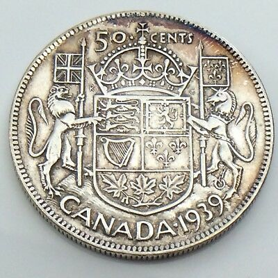 1939 Canada 50 Fifty Cent Half Dollar Canadian King George Circulated Coin G626