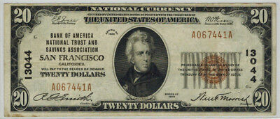 1929 $20 Bank of America 13044 National Currency San Francisco CA
