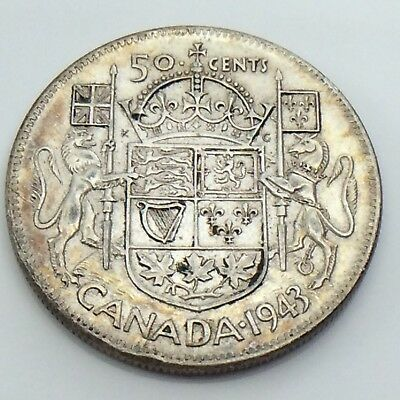 1943 Canada Fifty 50 Cent Half Dollar Lustrous Canadian Circulated Coin G628