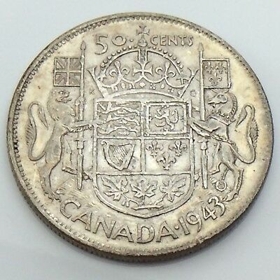 1943 Canada Fifty 50 Cent Half Dollar Lustrous Canadian Circulated Coin G629