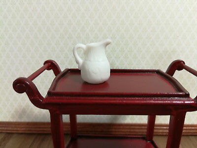 Dollhouse Miniature White Ceramic Pitcher with Handle 1:12 Scale
