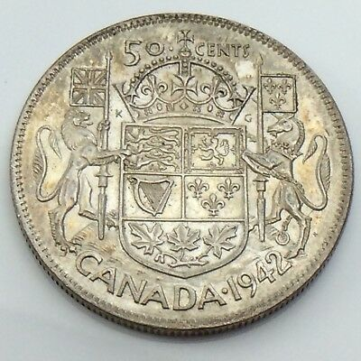 1942 Canada Wide Date WD Fifty 50 Cent Half Dollar Canadian Circulated Coin G632