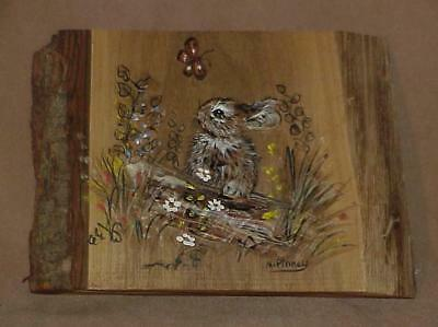 Rustic Forest Bunny Rabbit Butterfly Raised Art Work on Wood Signed M Pinney