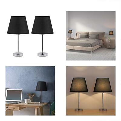 Sand Nickel Table Lamps Set Of 2 - Mini Basic Bedside Desk With Black Shade, For