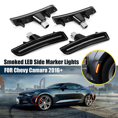 4PCS Smoked LED Front Rear Side Marker Lights For Chevy Camaro 2016 2017 2018