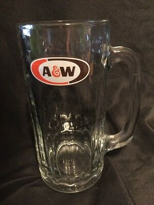 Rare VTG A & W ROOT BEER MUG Heavy Glass Big 7 Inches Tall • Great Condition