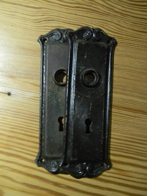 Antique Prairie Metal Door Back Plate, Salvaged Hardware