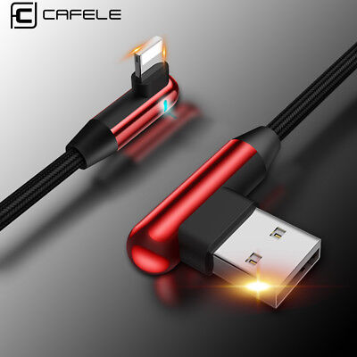 Cafele 90 Degree Right Angle lightning  USB Cable Charger iPhone XS Max 7 8 Plus