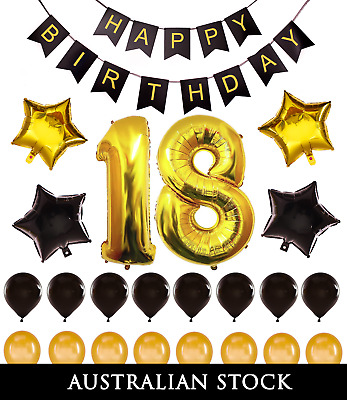 18th Birthday Decorations Giant Party Gold Foil Balloons Props Happy Banner