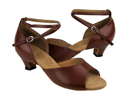 "New Woman's Brown Leather Latin Dance Shoes - size 6.5 / 1.3 ""heel"
