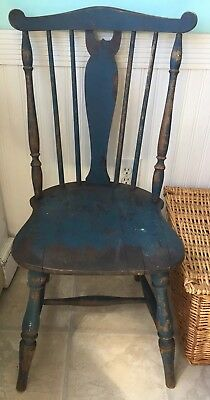 Antique old chipping original blue paint American country farmhouse CHAIR