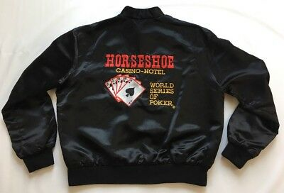 VTG World Series Of Poker Binions Horseshoe Las Vegas Satin Jacket USA Sz L
