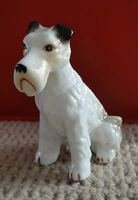 VINTAGE Porcelain Wire Haired FOX TERRIER Figurine Japan
