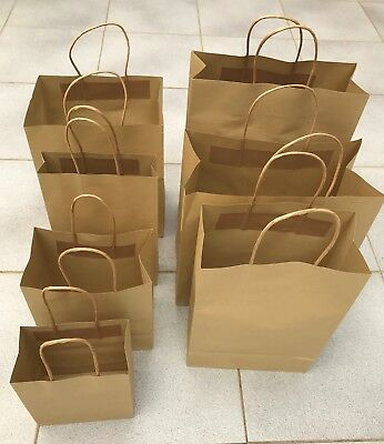 25-500 BULK BROWN KRAFT CRAFT PAPER GIFT CARRY BAGS Paper HANDLES 7 sizes