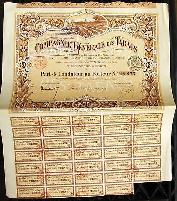 French bond Compagnie Generale des Tabacs - Compagnie Generale Tobacco, 1919