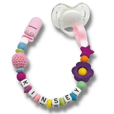 Cute Baby Personalized Wooden Bead Pacifier Soother Dummy Clip Holder 1pc ~ Girl