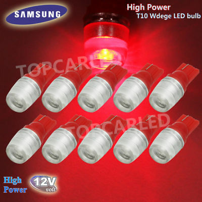10pcs High Power 1W T10 Wedge Samsung LED Red Car Interior LED Bulbs 12V 192 194