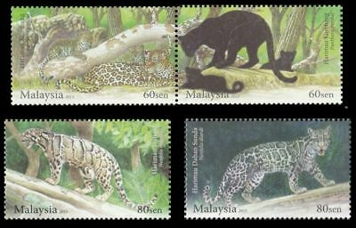 Malaysia 2013 Endangered Big Cats set of 4 Leopard Panther Leopard Cat MNH