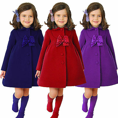 AU Kids Girls Long Princess Button Trench Coat Winter Warm Wind Jackets Overcoat