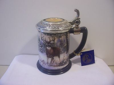 Franklin Mint, Deer Scene, Majestic Solitude, Collector Tankard with Lid