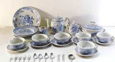 Vintage Japan Blue Willow Child's Tea Set: 34 pcs w Germany Silverware Very Nice