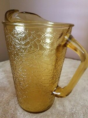 Vintage Ribbed Yellow 9 1/4 Tall Glass Ice Lip Tea Water Pitcher 60's-70's