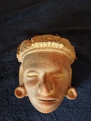 Vintage Clay Mayan Mask *****IN BEAUTIFUL COND.*****8 IN BY 6 IN
