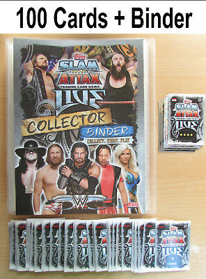 Slam Attax Live 2018 100 Random Cards + Binder Album NO Doubles WWE Set Bundle