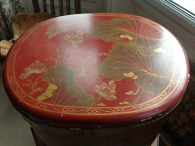 Hand Painted Vintage Chinese Lacquered Wood Rice Storage Box With Lid (664)