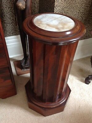 Victorian Cylindrical Scallop Mahogany Pot Cupboard With Marble Inset Top  (26)