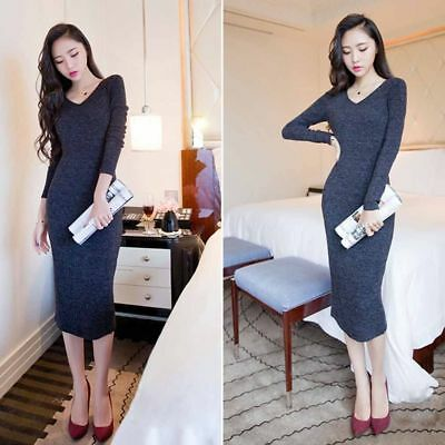 New Fashion Women Sweater Knitted Bodycon Winter V Neck Long Pencil Party Dress