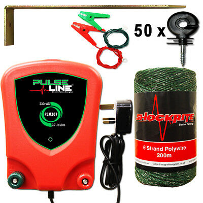 Electric Fence Energiser Fencer PLM207 0.7J Mains Powered Kit 50 Ring Insulators