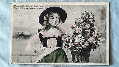 Postcard - Vintage pretty girl wearing a hat with basket of flowers (P160200)